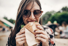 Stylish Hipster Woman Eating J...