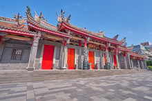 Taipei, Taiwan - November 29, 2018: Beautiful Five Red Gate Of Xingtian Temple In Zhongshan District In Taipei City, Taiwan