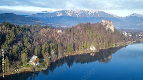 Obraz na płótnie Widok z lotu ptaka Bled jezioro, Slovenia