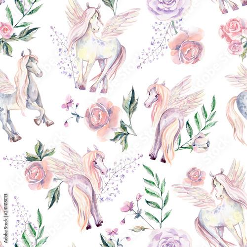 Fotografie, Obraz  Magic Pegasuses in seamless pattern. Watercolor illustration, be