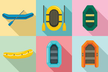 Inflatable Boat Icon Set. Flat...