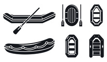 River Inflatable Boat Icon Set...
