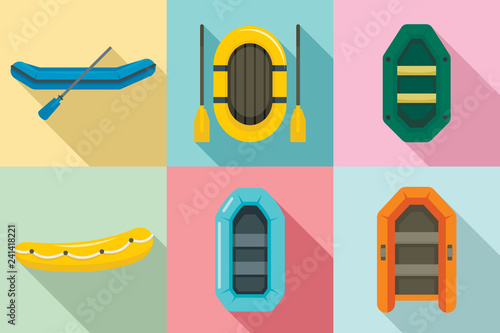 Inflatable boat icon set Wallpaper Mural