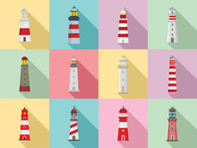 Lighthouse Icon Set. Flat Set Of Lighthouse Vector Icons For Web Design
