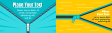 Jacket Zipper Banner Set. Flat Illustration Of Jacket Zipper Vector Banner Set For Web Design
