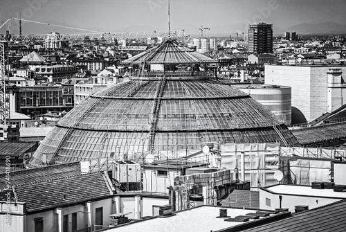 Spoed Fotobehang Milan Roofs of Milan city, Italy, colorless