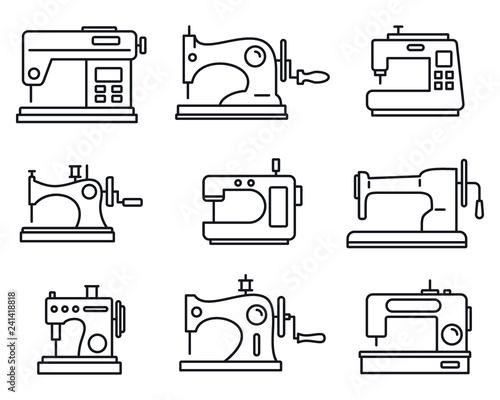 Obraz na plátne Fabric sew machine icon set