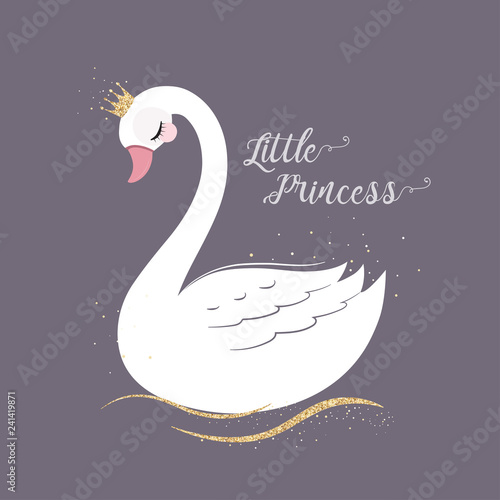 Fotografia cute Little Princess Swan with gold glitter crown.