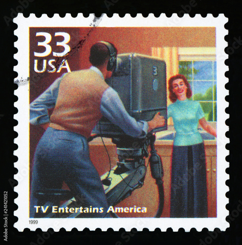 Photo  UNITED STATES OF AMERICA - CIRCA 1999: a postage stamp printed in USA showing an image of the fifties television, CIRCA 1999