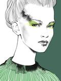 90s beautiful girl woman portrait illustration - 241425267