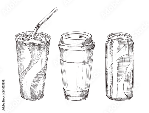 Take Away Drink Sketch Style Icon Set for Promo Canvas Print