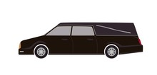 Black Hearse Isolated On White Background. Automobile Carrying Dead Body. First Call Vehicle, Funeral Transport, Burial Transportation Service. Colorful Vector Illustration In Flat Cartoon Style.