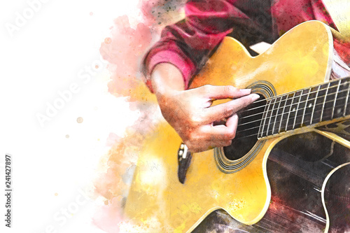 Close up beautiful woman playing acoustic guitar on walking street on watercolor painting background. - 241427897