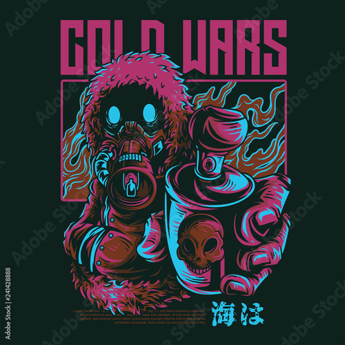 Leinwand Poster Cold Wars Illustration