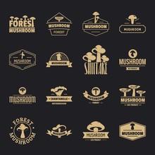 Mushroom Forest Logo Icons Set. Simple Illustration Of 16 Mushroom Forest Logo Vector Icons For Web