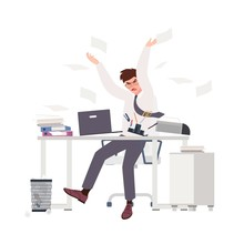 Angry Male Clerk Sitting At Desk And Throwing Documents. Fearful Man At Office. Stressful Work, Stress At Workplace. Busy Businessman, Overworked Professional. Flat Cartoon Vector Illustration.