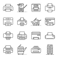 Printer Icon Set. Outline Set Of Printer Vector Icons For Web Design Isolated On White Background