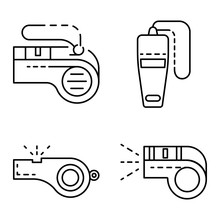 Whistle Icon Set. Outline Set Of Whistle Vector Icons For Web Design Isolated On White Background