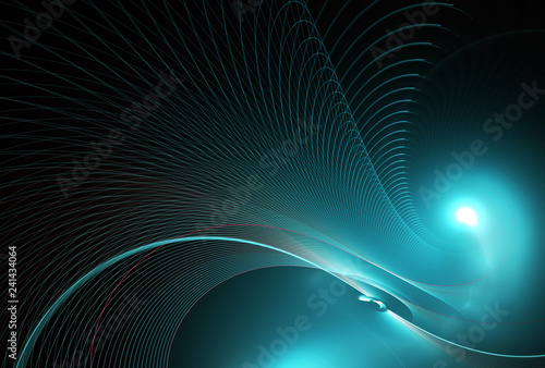 Photo sur Aluminium Fractal waves Abstract color dynamic background with lighting effect. Fractal spiral. Fractal art