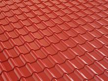 Red Metal Roof Tile. 3d Illustration.