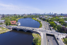 Charles River And Anderson Memorial Bridge Aerial View In Allston With Boston Skyline At The Background, Boston, Massachusetts, USA.
