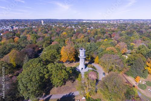 Washington Tower in Mount Auburn Cemetery in fall, Watertown, Greater Boston Area, Massachusetts, USA Wallpaper Mural
