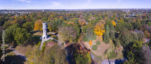 Washington Tower in Mount Auburn Cemetery in fall, Watertown, Greater Boston Area, Massachusetts, USA Canvas Print