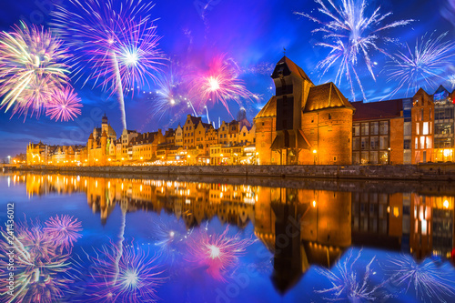 Staande foto Europese Plekken New Years firework display in Gdansk, Poland