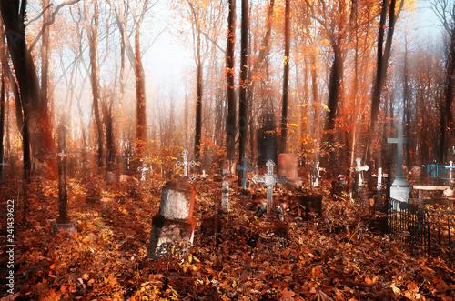 Fotografiet  Mystic autumn cemetery landscape background