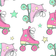 Seamless Vector Drawing Of Vintage Rollers And Stars