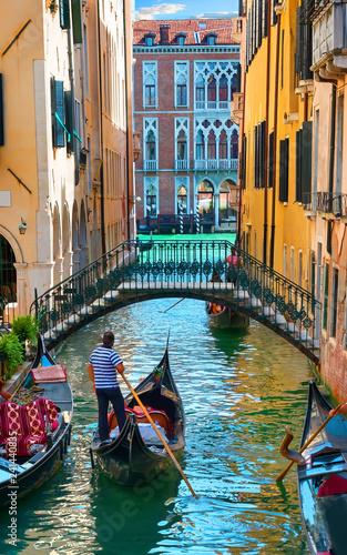 Türaufkleber Gondeln Water street of Venice