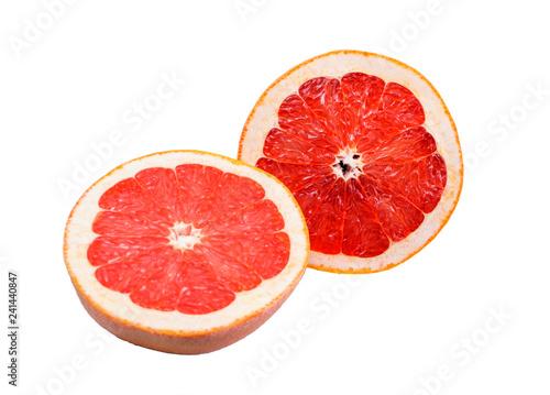 Fotografía  two halves of  grapefruit on white background