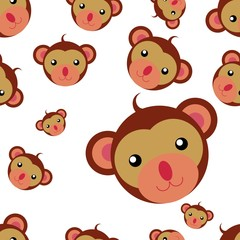 seamless pattern heads of monkey. Illustration of seamless pattern with animal.  Colorful vector illustration for fabric print, wallpaper, greeting card, wrapping paper.
