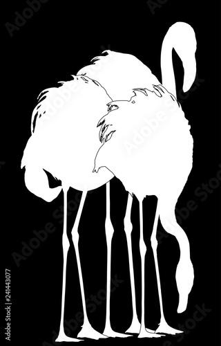 group of three flamingo silhouettes on black