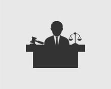 Male Judge Icon With Balance A...