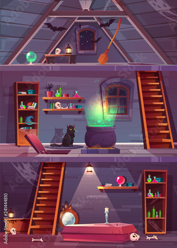 Vector cross section of witch house with cellar and attic Canvas