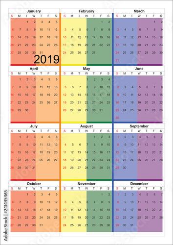 Calendario Gay.Calendario 2019 Con Diseno De Bandera De Orgullo Gay Lgtb