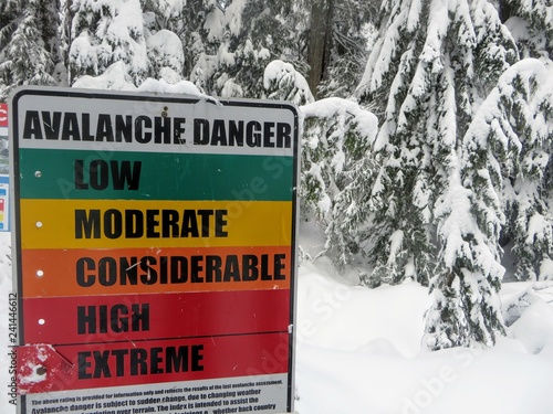 Slika na platnu The avalanche warning sign on Cypress Mountain in Vancouver, British Columbia, Canada displays extreme level avalanche danger