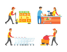 Supermarket Working People And Client Set Vector