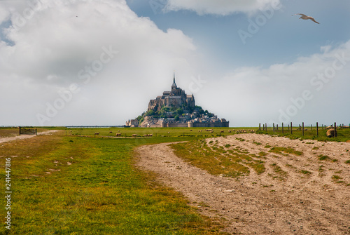 Fotografie, Obraz  Le Mont Saint Michelewith blue sky and clouds, Normandy, northern France