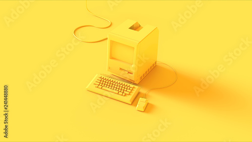 Fotografía  Yellow Vintage Computer Keyboard and Mouse 3d illustration 3d render