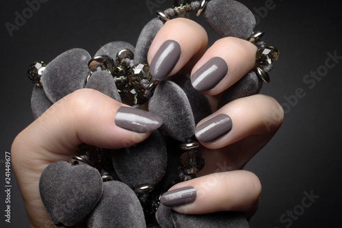 Fotobehang Manicure gray nails manicure