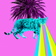 canvas print picture - Tropical leopard Cat with lasers from eyes. Minimal collage fashion concept