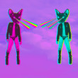 canvas print picture - Fashion hipster Cats with rainbow lasers from eyes. Animal funny collage art