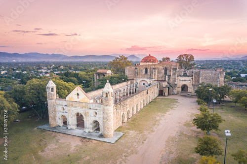 Foto auf Leinwand Rosa hell Beautiful sunset over the ancient monastery of Cuilapam in Oaxaca, Mexico