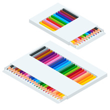 Isometric Coloured Crayons Or Pencil Colors Rainbow Style Isolate On White Background.