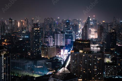 Fotografie, Obraz  Ariel view of city of bangkok metropolis in twilight