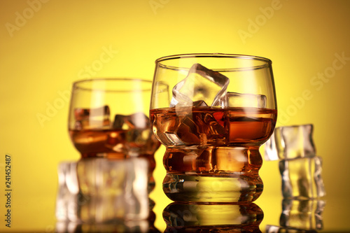 Cola / Rum / Whiskey Glasses with Ice Cubes