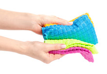 Colorful Rag Cloth In Hand On ...