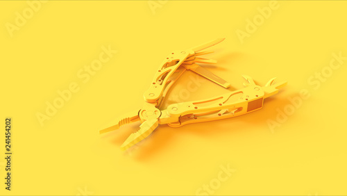 Valokuva  Yellow Multi tool 3d illustration 3d render